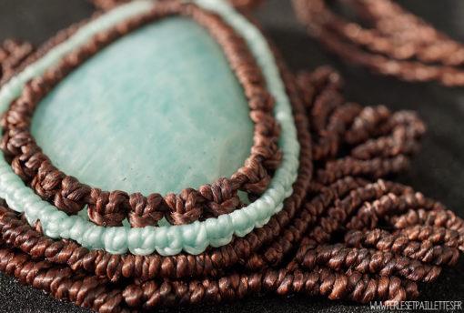 collier en macramé et amazonite
