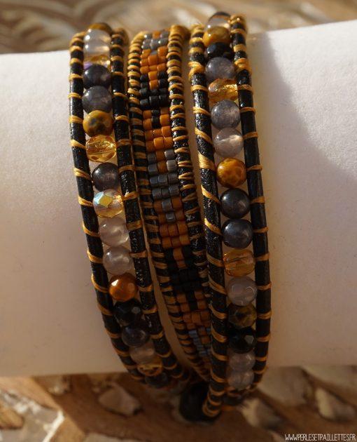 Bracelet Wrap Jaune & Gris