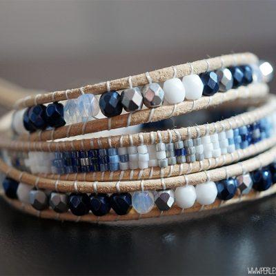 Bracelet Wrap Bleu et Beige