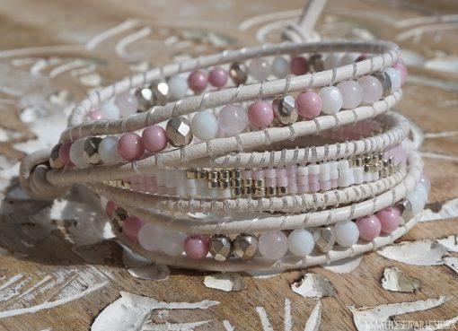 Bracelet Wrap Rose, Blanc et Argent